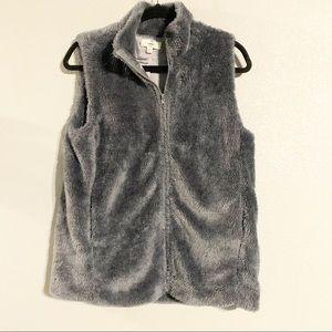 Entro fluffy furry soft gray vest medium